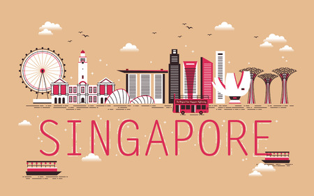 Illustration for Singapore travel concept design with bay scene in flat design - Royalty Free Image