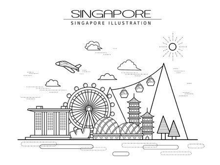 Illustration pour simplicity Singapore scenery poster design in line style - image libre de droit