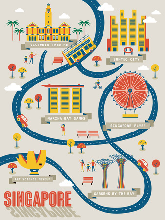 Illustration pour Singapore travel map with lovely attractions in flat design - image libre de droit