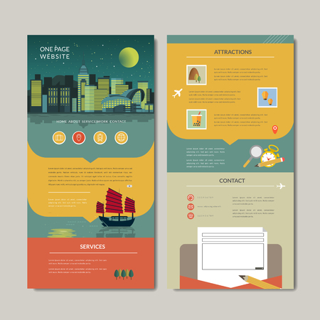 Illustration pour adorable one page web design with night scene in flat style - image libre de droit