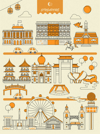 Illustration pour Singapore must see attractions poster in flat style - image libre de droit