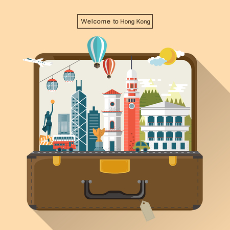 Foto de creative Hong Kong travel attractions in luggage - Imagen libre de derechos
