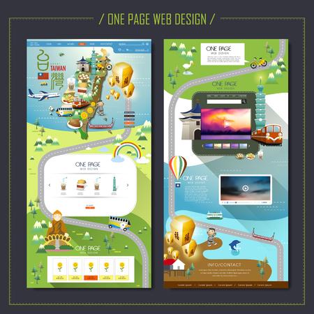 Illustration pour one page web design with Taiwan travel elements - image libre de droit