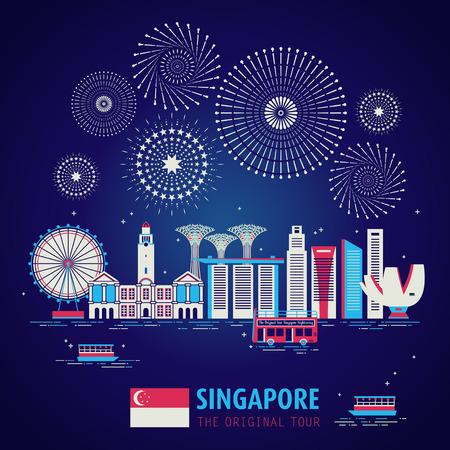 Ilustración de Singapore travel concept design with night scene in flat design - Imagen libre de derechos