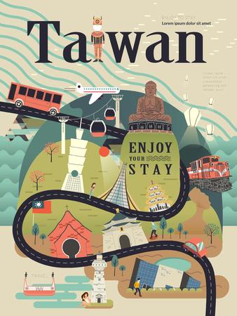 Ilustración de lovely Taiwan travel poster design with famous attractions - Imagen libre de derechos