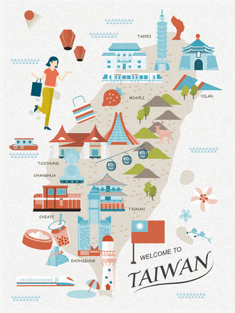Illustration pour lovely Taiwan travel map design in flat style - image libre de droit