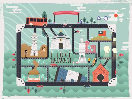 Illustration pour creative Taiwan travel elements toy kit design - image libre de droit