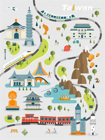 Ilustración de lovely Taiwan travel map design in flat style - Imagen libre de derechos