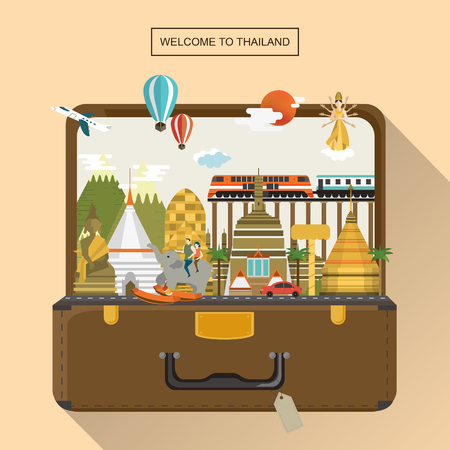 Illustration for adorable Thailand travel poster with attractions in luggage - Royalty Free Image