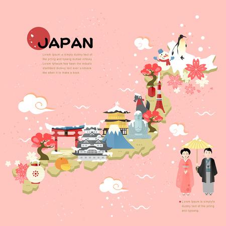 Ilustración de beautiful Japan travel map in flat style - Imagen libre de derechos