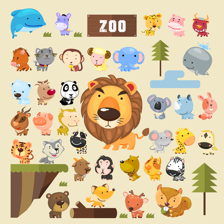 Ilustración de adorable animals collection set in cartoon style - Imagen libre de derechos