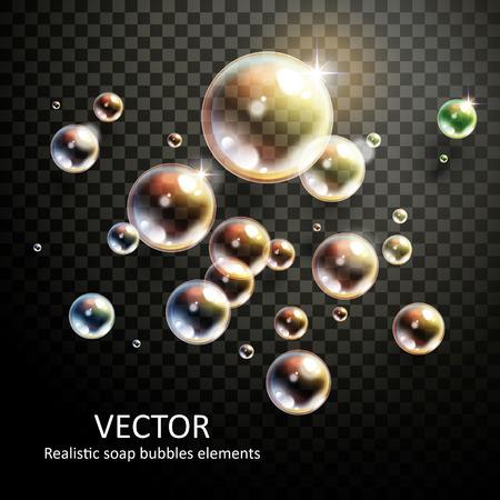 Ilustración de realistic bubbles with beautiful refractions on transparent - Imagen libre de derechos