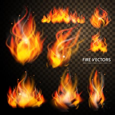 Illustration for elegant flame elements collection set over transparent background - Royalty Free Image