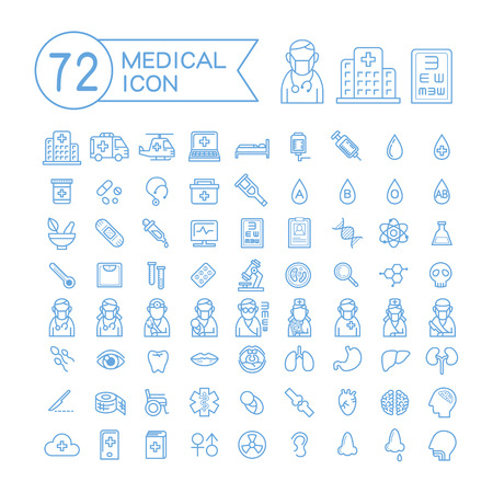 Ilustración de 72 medical icons set over white background - Imagen libre de derechos