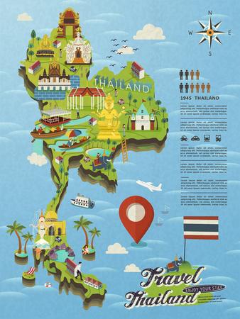 Illustrazione per attractive Thailand travel concept map in flat style - Immagini Royalty Free