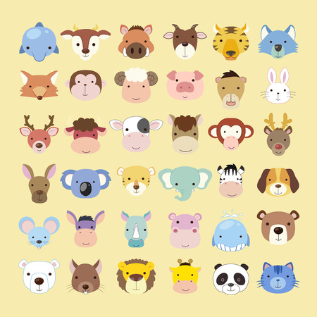 Illustration pour lovely animal heads collection set in flat style - image libre de droit