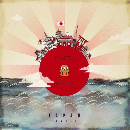 Ilustración de attractive Japan travel poster design - hello and welcome to Japan in Japanese words - Imagen libre de derechos