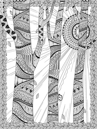 Illustration pour mysterious forest coloring page in exquisite line - image libre de droit