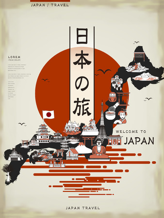 Illustration for retro Japan travel map design with attractions - Japan travel in Japanese words - Royalty Free Image