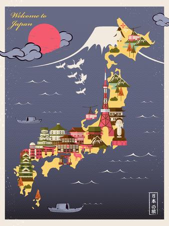 Ilustración de retro Japan travel poster with attractions - Japan Travel in Japanese words - Imagen libre de derechos