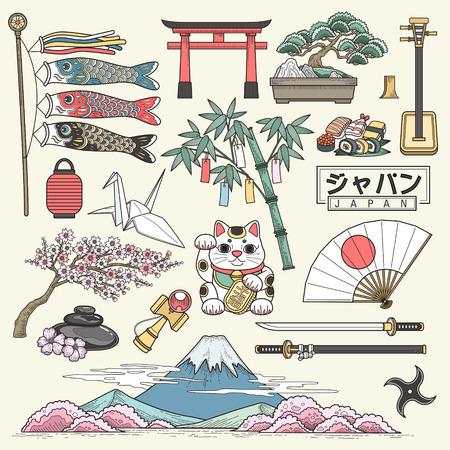 Ilustración de exquisite Japan travel elements collection in line style - Japan country name in Japanese words - Imagen libre de derechos
