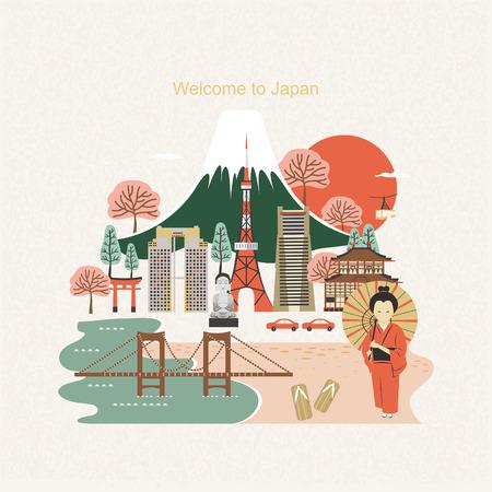 Ilustración de lovely Japan travel poster design in flat style - Imagen libre de derechos