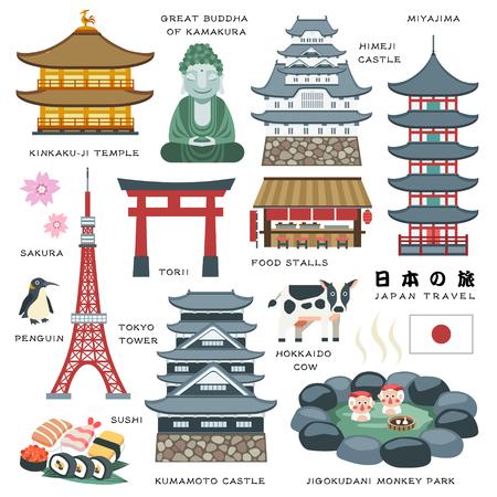 Ilustración de lovely Japan travel elements collection - Japan Travel in Japanese words - Imagen libre de derechos