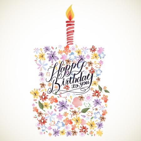 Ilustración de lovely Happy birthday calligraphy poster design with floral elements - Imagen libre de derechos