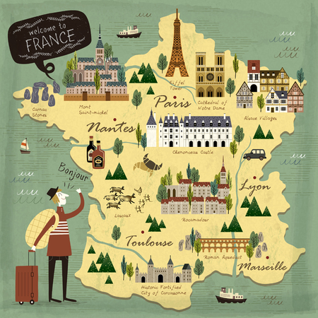 Illustration for France travel concept illustration map with attractions - Royalty Free Image