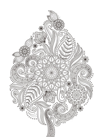 Illustration for graceful flower coloring page design in exquisite line - Royalty Free Image