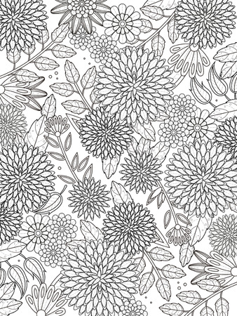 Illustration for lovely hydrangea coloring page in exquisite line - Royalty Free Image
