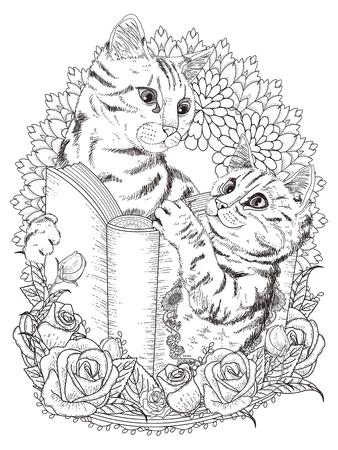 Ilustración de adorable cats with book and floral decorations - adult coloring page - Imagen libre de derechos