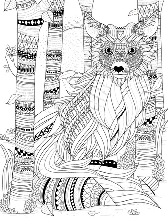Illustration for fluffy fox in the forest - adult coloring page - Royalty Free Image