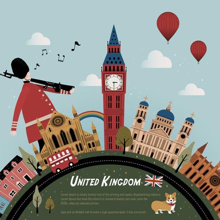 Illustration pour lovely United Kingdom travel poster design with street scenery - image libre de droit