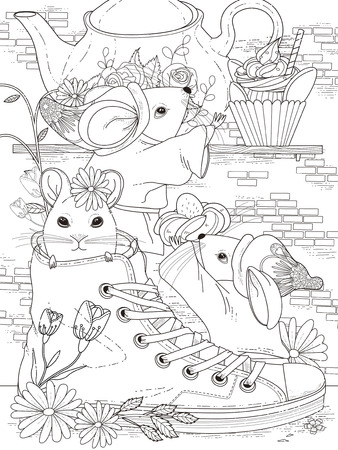 Illustration for lovely adult coloring page - afternoon tea party for mice - Royalty Free Image