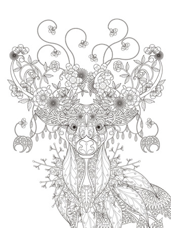 Illustration for adult coloring page - abstract attractive floral deer - Royalty Free Image