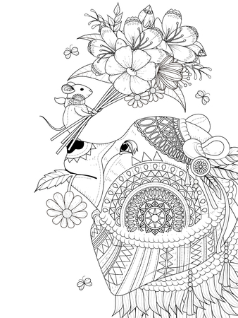 Illustration for adult coloring page - bear with its tiny friend - Royalty Free Image