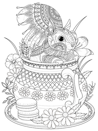 Illustration for adult coloring page - adorable squirrel in a teapot - Royalty Free Image