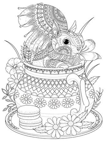 Illustration pour adult coloring page - adorable squirrel in a teapot - image libre de droit