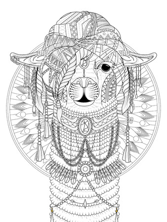Illustration for adult coloring page - alpaca with splendid headwear - Royalty Free Image