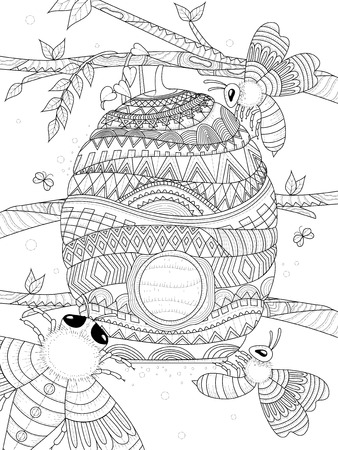 Illustration pour bee flies around honeycomb - adult coloring page - image libre de droit