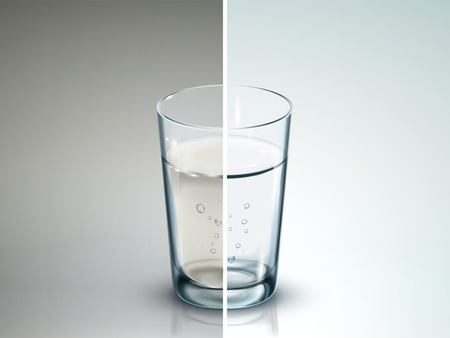 Ilustración de comparison of two glasses of water - 3D illustration - Imagen libre de derechos
