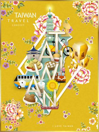 Illustration pour Taiwan travel concept design with attractions and hakka floral background - image libre de droit