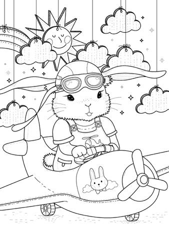 Illustration pour Lovely bunny pilot coloring page with clouds and sun - image libre de droit