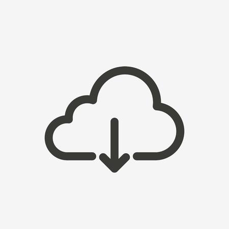 Illustration pour download cloud icon of brown outline for illustration - image libre de droit