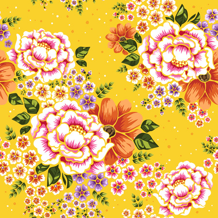Illustration pour Floral seamless pattern, traditional hakka flower design over yellow background - image libre de droit