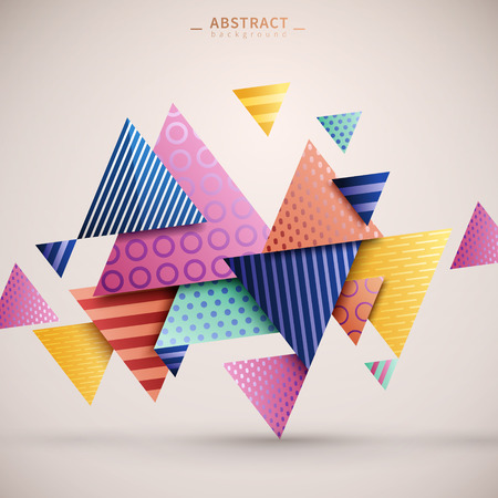 Ilustración de Abstract geometric background, triangle elements with stripes and dotted pattern on them, colorful geometric template for poster, card or background - Imagen libre de derechos