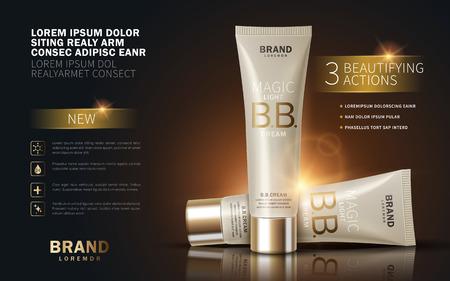 Illustration pour B.B. cream ads, makeup tube template with sparkling effect. 3D illustration. - image libre de droit