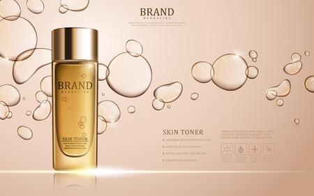 Ilustración de Skin toner ads template, glass bottle mockup for ads or magazine. Transparent liquid drip on background. 3D illustration. - Imagen libre de derechos