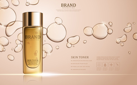 Illustration pour Skin toner ads template, glass bottle mockup for ads or magazine. Transparent liquid drip on background. 3D illustration. - image libre de droit